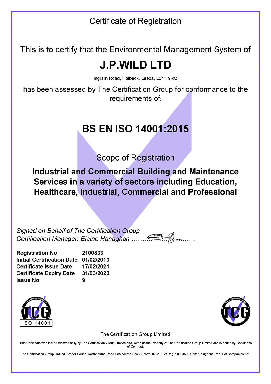 ISO 14001 2015 Certificate - J.P.WILD LTD (17022021)